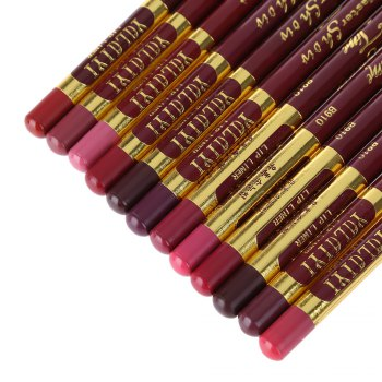 12pcs Fashion Waterproof Long Lasting Smooth Lip Liner Pencil -  COLORMIX