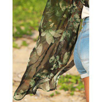Vintage Turn Down Collar Floral Print See-Through Women Chiffon Blouse - BLACK/GREEN L