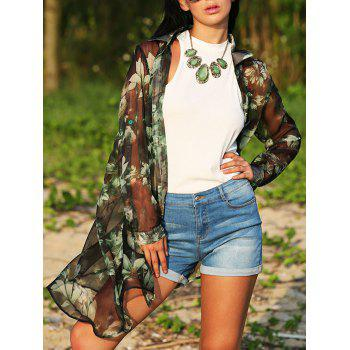 Vintage Turn Down Collar Floral Print See-Through Women Chiffon Blouse