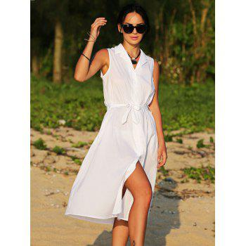 Brief Lapel Sleeveless Bowknot Design Lace-Up Pure Color Women Midi Shirt Dress - WHITE M