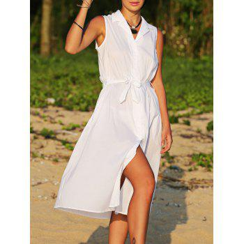 Brief Lapel Sleeveless Bowknot Design Lace-Up Pure Color Women Midi Shirt Dress