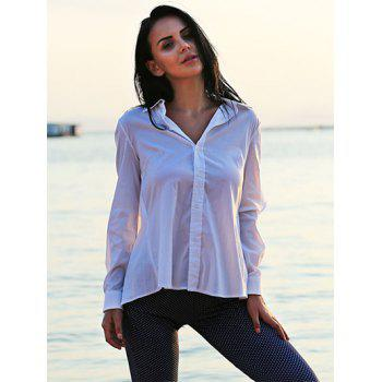 Turn Down Collar Long Sleeve Self-Tie Design Loose-Fitting Women Shirt - WHITE L