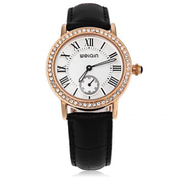 WeiQin W4812E Female Quartz Watch Luminous Artificial Diamond Dial Genuine Leather Band Water Resistance Wristwatch - BLACK