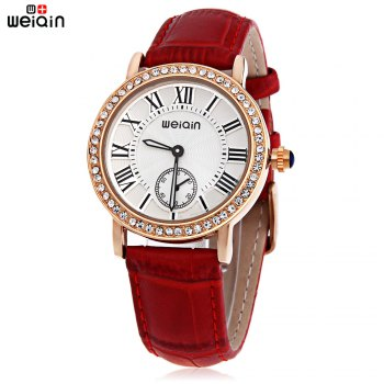 WeiQin W4812E Female Quartz Watch Luminous Artificial Diamond Dial Genuine Leather Band Water Resistance Wristwatch