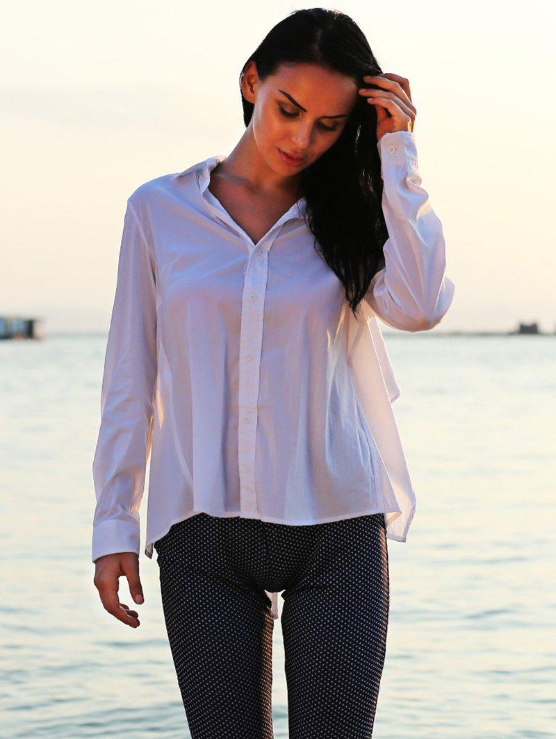Turn Down Collar Long Sleeve Self-Tie Design Loose-Fitting Women Shirt