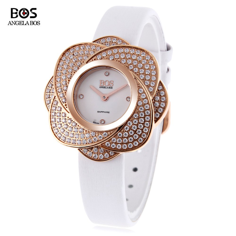 Angela Bos 8009L Women Quartz Watch Flower-shaped Artificial Diamond Dial Wristwatch - WHITE
