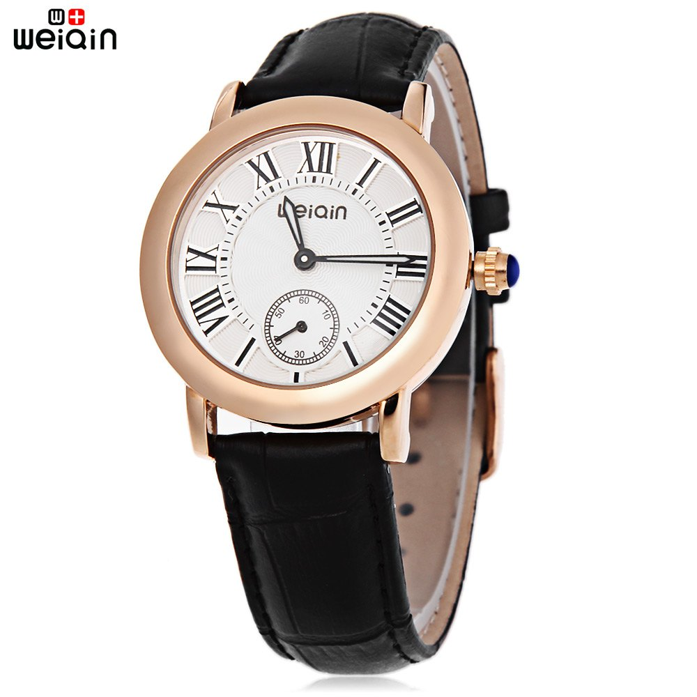 WeiQin W4813E Female Quartz Watch Luminous Pointer Working Sub-dial Genuine Leather Band Water Resistance Wristwatch - BLACK