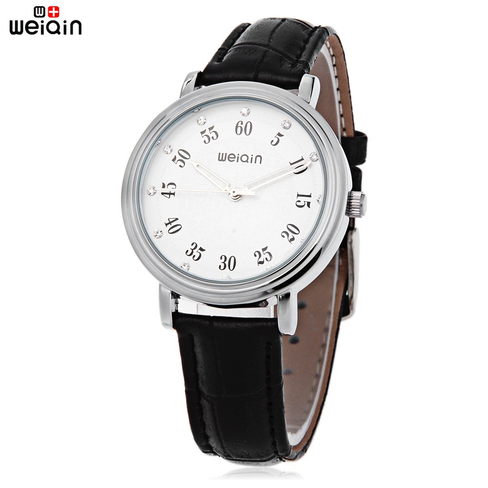 WeiQin W40003L Female Quartz Watch Artificial Diamond Dial Water Resistance Leather Band Wristwatch - BLACK
