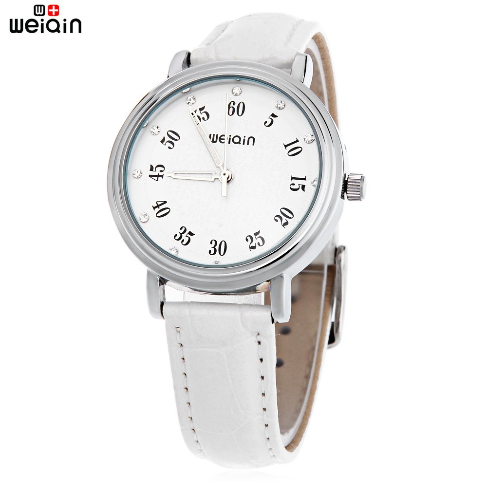 WeiQin W40003L Female Quartz Watch Artificial Diamond Dial Water Resistance Leather Band Wristwatch kezzi 767 women quartz watch artificial diamond leather band rectangle dial