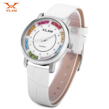 VILAM V1027L Women Quartz Watch Colorful Quicksand Dial Water Resistance Wristwatch