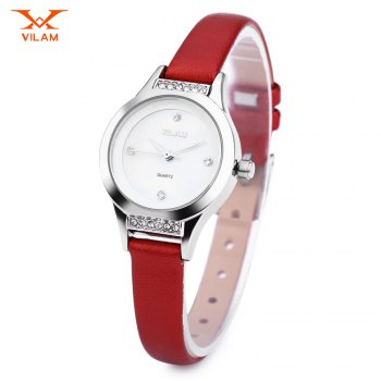 VILAM V1003L Female Quartz Watch Artificial Diamond Dial Slender Leather Strap Wristwatch