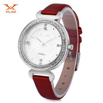 VILAM V1002L Women Quartz Watch Artificial Crystal Dial Solid Flower Mirror Wristwatch