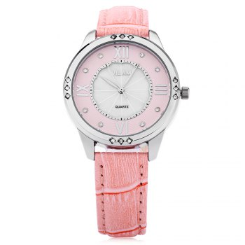 VILAM V1001L Women Quartz Watch Artificial Crystal Pearl Shell Dial Leather Strap Wristwatch - PINK