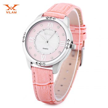 VILAM V1001L Women Quartz Watch Artificial Crystal Pearl Shell Dial Leather Strap Wristwatch