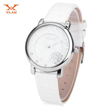 VILAM V1008L Women Quartz Watch Flower Pattern Pearl Shell Dial Wristwatch