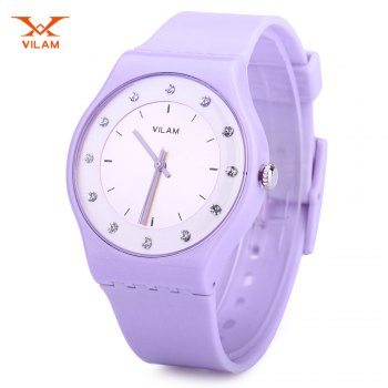VILAM 13018 Women Quartz Watch Artificial Crystal Dial PU Strap Water Resistance Wristwatch