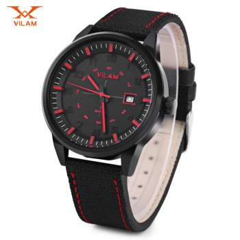 VILAM V2003G Men Quartz Watch Date Display Solid Arabic Numerals Scale Wristwatch