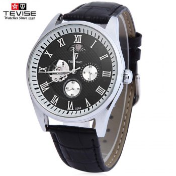 TEVISE 264 Men Hollow Auto Mechanical Watch 24 Hours Moon Phase Display Wristwatch