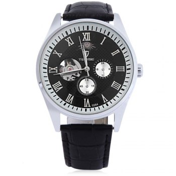 TEVISE 264 Men Hollow Auto Mechanical Watch 24 Hours Moon Phase Display Wristwatch - SILVER/BLACK