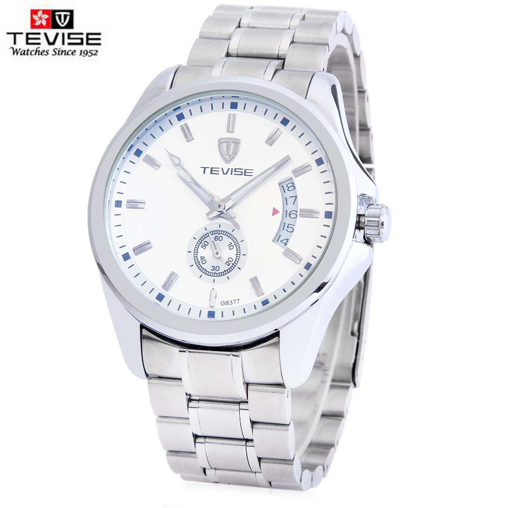 TEVISE 8377G Male Auto Mechanical Watch Date Chronograph Display Stainless Steel Band Wristwatch - WHITE