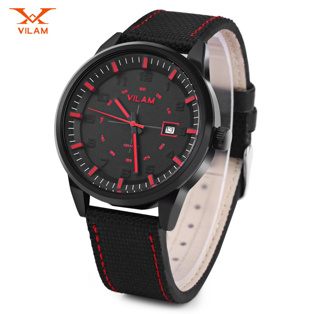 VILAM V2003G Men Quartz Watch Date Display Solid Arabic Numerals Scale Wristwatch - BLACK