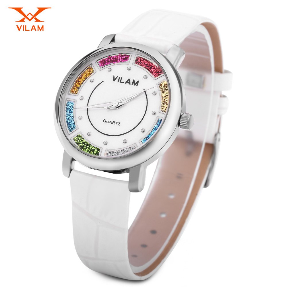 VILAM V1027L Women Quartz Watch Colorful Quicksand Dial Water Resistance Wristwatch - WHITE