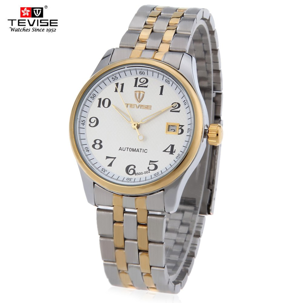 Tevise 8500 - 002 Men Automatic Mechanical Watch Date Luminous Pointer 3ATM Water Resistance Wristwatch - SILVER