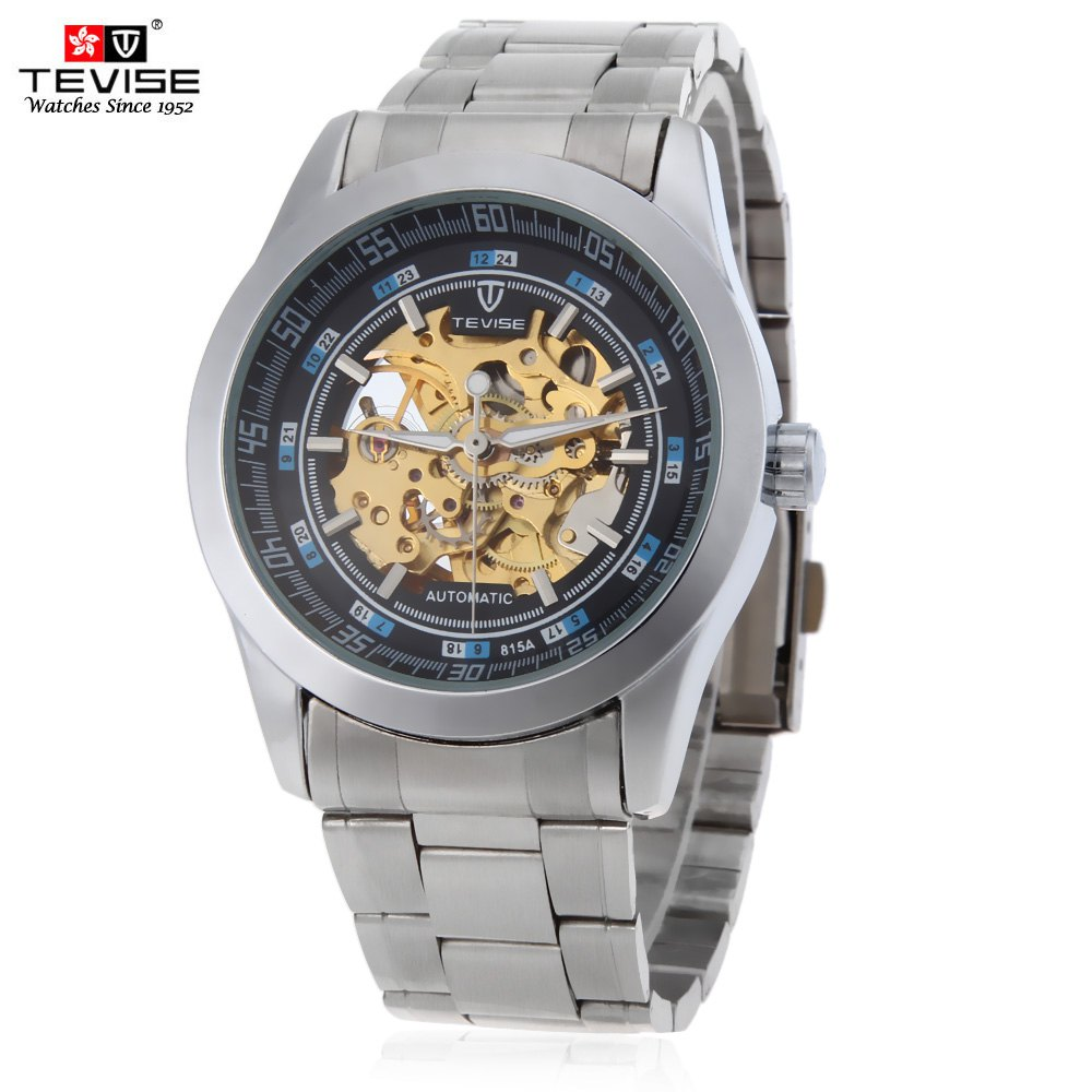 Tevise 815A Male Automatic Mechanical Watch Luminous Pointer 3ATM Water Resistance 24 Hour Display Wristwatch - SILVER