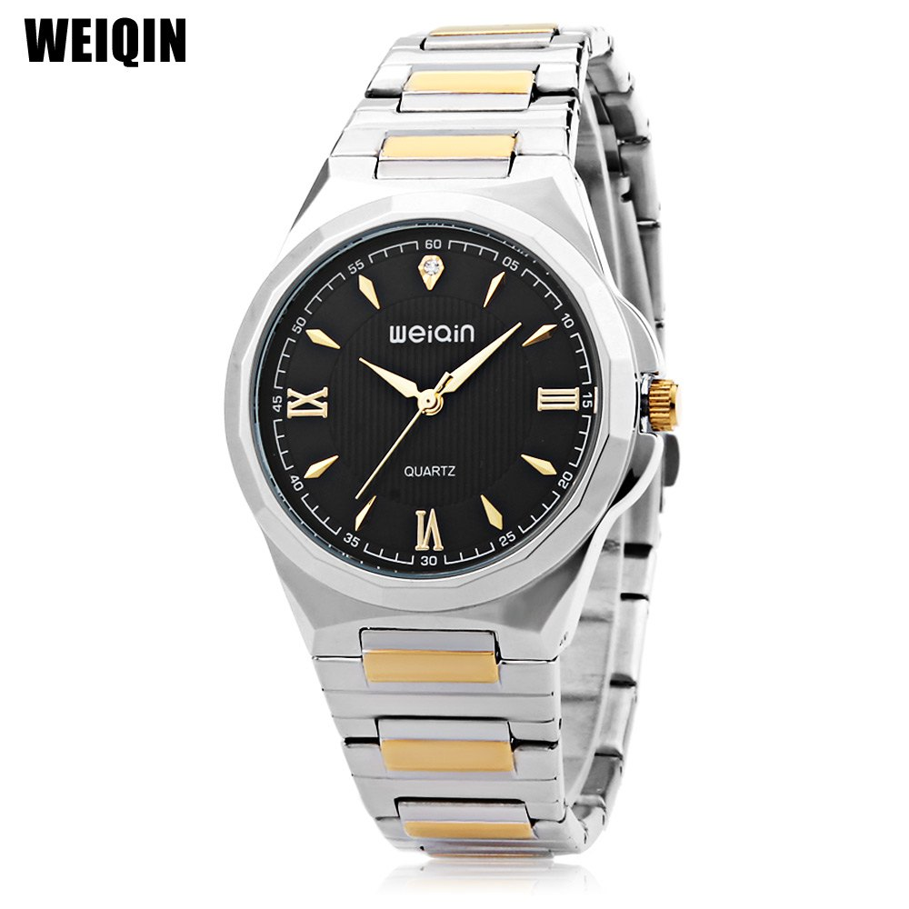 WEIQIN W00140G Men Quartz Watch Water Resistance Stainless Steel Band Wristwatch - BLACK