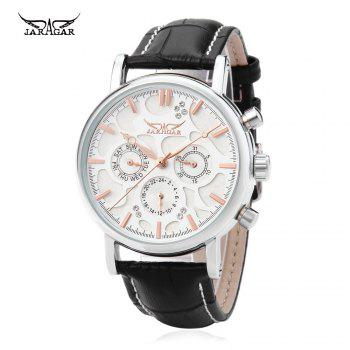 JARAGAR F120545 Male Automatic Mechanical Watch Date Day 24 Hours Display Genuine Leather Strap Wristwatch
