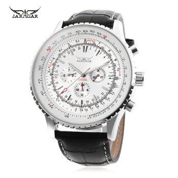 JARAGAR F120561 Male Automatic Mechanical Watch Date Day 24 Hour Display Genuine Leather Strap Wristwatch