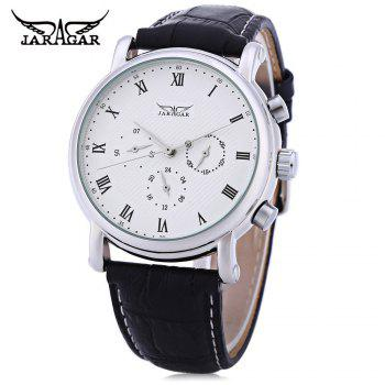 JARAGAR F1205306 Men Auto Mechanical Watch Calendar 24 hours Display Genuine Leather Wristwatch