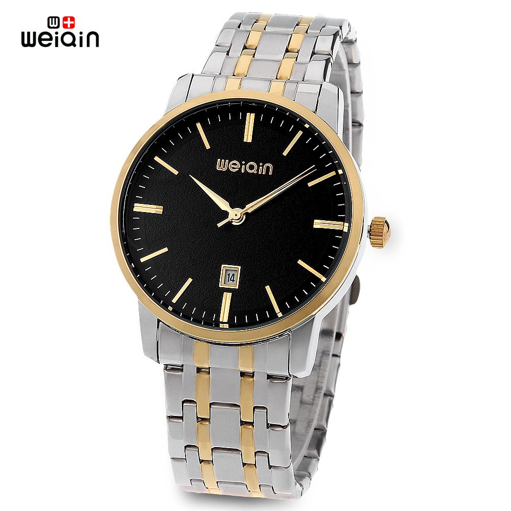 WeiQin W00137BG Male Quartz Watch Date Hardlex Mirror 3ATM Water Resistance Wristwatch - BLACK