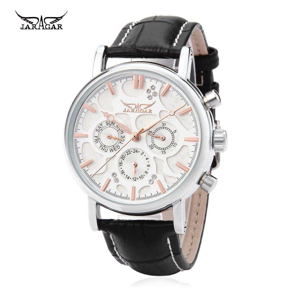 JARAGAR F120545 Male Automatic Mechanical Watch Date Day 24 Hours Display Genuine Leather Strap Wristwatch - ROSE GOLD