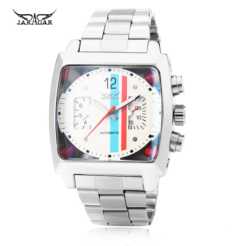 JARAGAR F120549 Male Automatic Mechanical Watch Date Day Rectangle Dial Luminous Pointer Wristwatch - WHITE