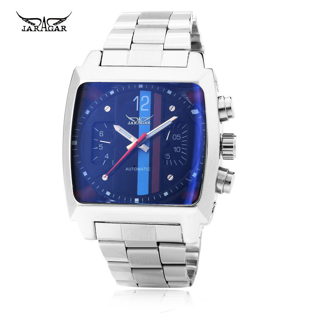 Buy JARAGAR F120549 Male Automatic Mechanical Watch Date Day Rectangle Dial Luminous Pointer Wristwatch BLUE