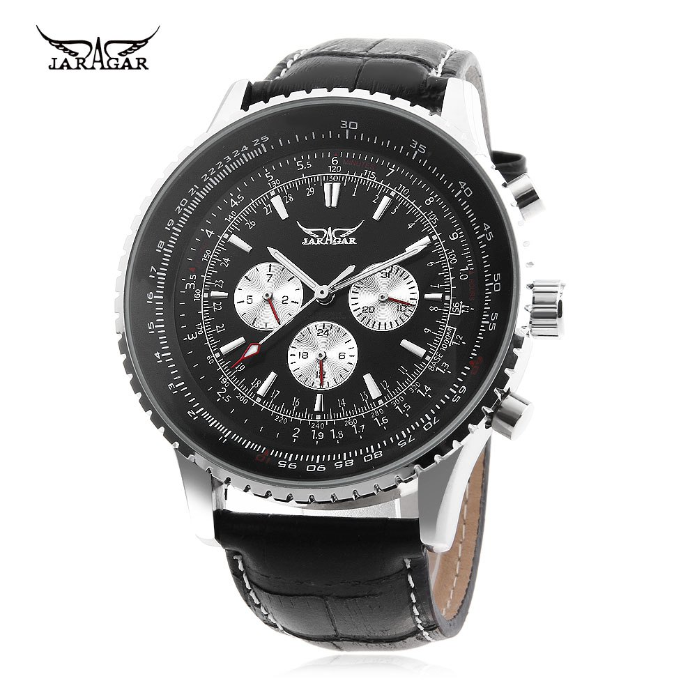 JARAGAR F120561 Male Automatic Mechanical Watch Date Day 24 Hour Display Genuine Leather Strap Wristwatch - BLACK