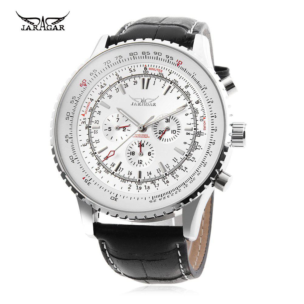 JARAGAR F120561 Male Automatic Mechanical Watch Date Day 24 Hour Display Genuine Leather Strap Wristwatch - WHITE
