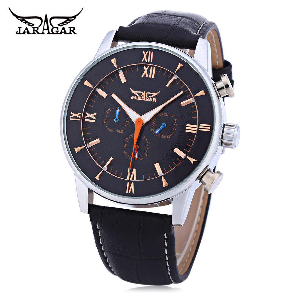 JARAGAR F120550 Men Auto Mechanical Watch Date Day 24 Hours Display Luminous Pointer Wristwatch - BLACK