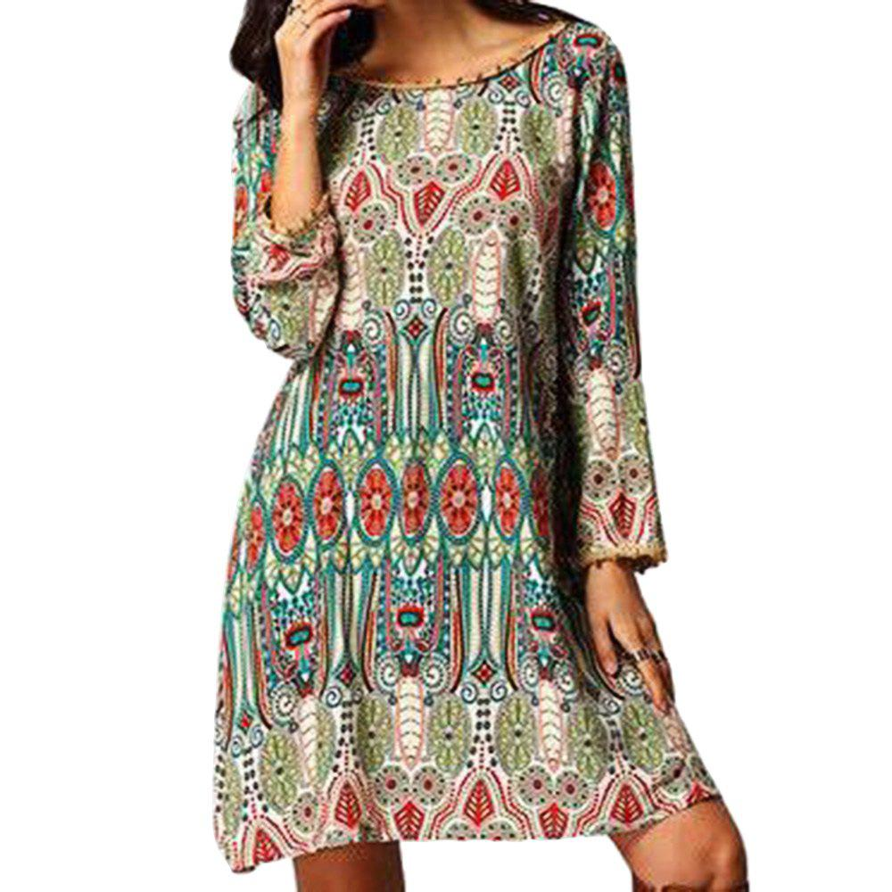 Ethnic Style African Tribal Print Tassel Dress - GREEN XL