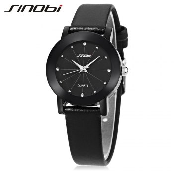 SINOBI 981 Women Analog Rhinestone Leather Band Quartz Watch - BLACK BLACK