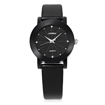 SINOBI 981 Women Analog Rhinestone Leather Band Quartz Watch -  BLACK