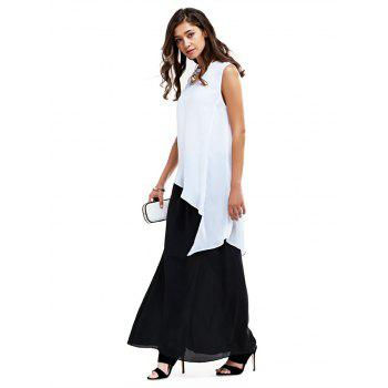 Buy Simple Round Collar Asymmetrical Pure Color Women Blouse WHITE