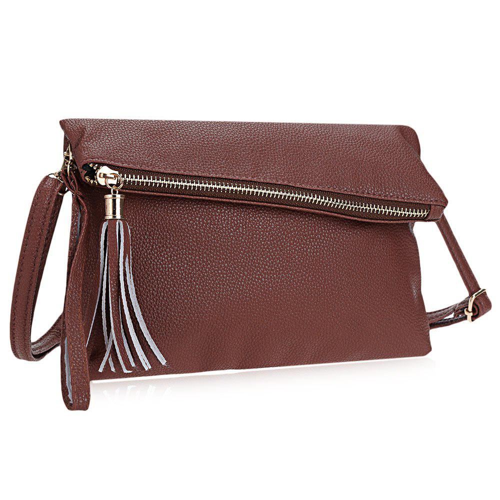 Tassel Solid Color Magnet Button Zipper Women Shoulder Messenger Wrist Envelope Bag