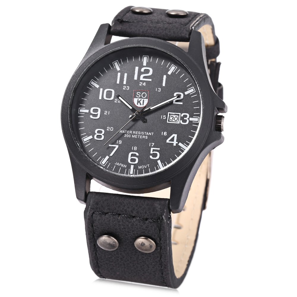 Unisex Quartz Watch Military Wristwatch Leather Band Calendar for Men Women - BLACK