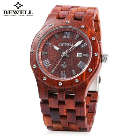 Bewell ZS - W109A Men Quartz Watch Round Dial Wooden Band Analog Wristwatch - RED SANDALWOOD