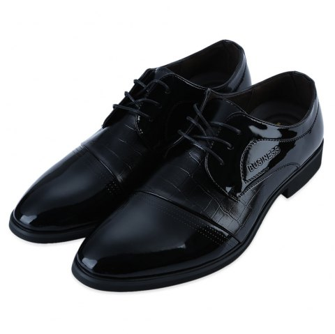 Formal Alligator Pattern Pointed Toe  Lace Up Business Patent Leather Shoes for Men - BLACK 40