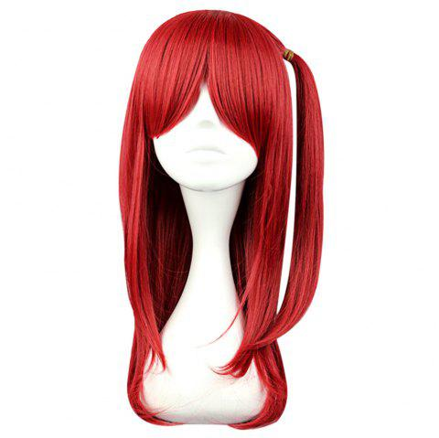 60cm Natural Straight Wigs Cosplay Party Pour Les Mages Le Labyrinthe De Magic Morgiana Roseate Figure - Rouge vineux