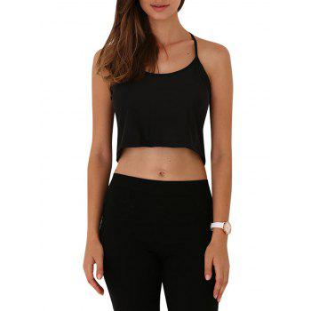 Buy Brief Spaghetti Strap Pure Color Cut Women Crop Top BLACK