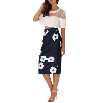 High Waist Floral Back Slit Bodycon Skirt
